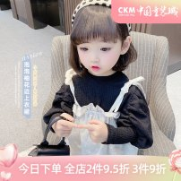 T-shirt 90cm,100cm,110cm,120cm,130cm female spring Long sleeves Hood Korean version There are models in the real shooting other Solid color Class B 18 months, 2 years old, 3 years old, 4 years old, 5 years old, 6 years old