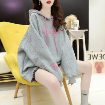 Women's large Spring 2021 Grey black white M (suitable for 80-110 kg) l (suitable for 111-140 kg) XL (suitable for 141-170 kg) Sweater / sweater singleton  commute easy moderate Socket Long sleeves Solid color Hood routine cotton routine t1244 Love Annie 18-24 years old Embroidery