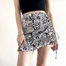skirt Spring 2021 S,M,L black Short skirt street High waist Ruffle Skirt Animal pattern Type A 18-24 years old 51% (inclusive) - 70% (inclusive) GirlsAt18 polyester fiber Asymmetry, splicing Europe and America