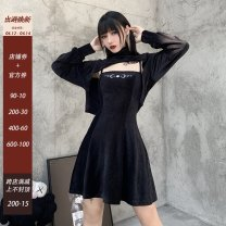 Dress Winter 2020 black S,M,L Short skirt singleton  Sleeveless street One word collar High waist Solid color Socket A-line skirt other Others 18-24 years old Type A other printing 21468A 51% (inclusive) - 70% (inclusive) polyester fiber Europe and America