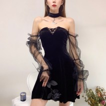 Dress Summer 2021 black S,M,L Short skirt singleton  Long sleeves street One word collar High waist Solid color Socket One pace skirt puff sleeve Others 18-24 years old Type A GirlsAt18 Splicing, mesh 22434A 51% (inclusive) - 70% (inclusive) polyester fiber Europe and America