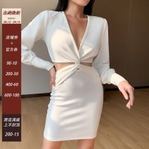 Dress Spring 2021 White, black S,M,L Short skirt singleton  Long sleeves street V-neck High waist Solid color Socket One pace skirt puff sleeve Others 18-24 years old Type H other Splicing 27114P 51% (inclusive) - 70% (inclusive) cotton Europe and America