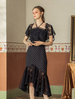 Dress Summer 2020 black 01/S,02/M,03/L longuette singleton  Short sleeve commute One word collar middle-waisted Dot Socket Ruffle Skirt Lotus leaf sleeve Others 25-29 years old Type X MaxRieny Retro MS8910500031DR0 More than 95% other polyester fiber