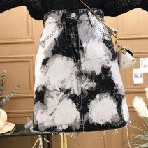skirt Summer 2020 S,M,L,XL Black and white, blue and white Short skirt commute High waist Denim skirt Type A [0C189] Denim Other / other Korean version