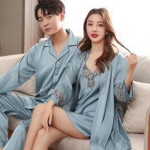 Pajamas / housewear set lovers Sai Baixuan Polyester (polyester) Long sleeves sexy pajamas autumn Thin money V-neck Solid color trousers Socket youth 2 pieces rubber string More than 95% silk Embroidery SBX810201 200g and below Polyester 95% polyurethane elastic fiber (spandex) 5% Autumn 2020