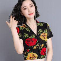 T-shirt Time of the year, mandarin duck, rose, white dot, letter flower, cherry XL,2XL,3XL,5XL,L,4XL Summer 2021 Short sleeve V-neck Self cultivation Regular routine commute nylon 71% (inclusive) - 85% (inclusive) 40-49 years old lady Printing, tie dyeing, mesh