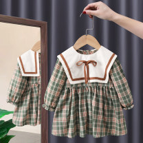 Dress Khaki, green female Tagkita / she and others 80, 90, 100, 110, 120, 130 Other 100% spring and autumn Korean version Long sleeves lattice cotton Pleats FHW625 Class A 12 months, 9 months, 18 months, 2 years old, 3 years old, 4 years old, 5 years old, 6 years old, 7 years old, 8 years old