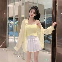 Square dance suit Tagkita / she and others S. M, l, average size Fluorescent yellow sling, pink sling, fluorescent yellow Cape, pink Cape, white skirt, dark green sling, dark green Cape, white sling, white Cape, black skirt other female 18-24 years old Two piece set Sleeveless Solid color