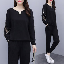 Casual suit Autumn 2020 black 1212-1 91% (inclusive) - 95% (inclusive) Other polyester 95% 5% Pure e-commerce (online only)