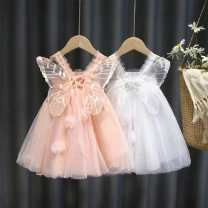 Dress Butterfly wing Skirt Pink Butterfly Wing skirt milky white female Dalio 90cm 100cm 110cm 120cm 130cm Other 100% summer Korean version Short sleeve Solid color Netting A-line skirt Spring 2021 12 months 9 months 18 months 2 years 3 years 4 years 5 years 6 years 7 years old Chinese Mainland