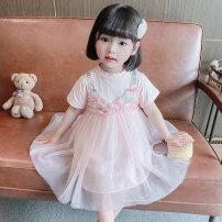 Dress Pink female Dalio 90cm 100cm 110cm 120cm 130cm Other 100% summer Korean version Short sleeve other cotton Skirt / vest Summer 2021 12 months 9 months 18 months 2 years 3 years 4 years 5 years 6 years old Chinese Mainland Zhejiang Province Huzhou City