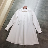 Dress Autumn 2020 white S,M,L Mid length dress singleton  Long sleeves commute Polo collar High waist Solid color Single breasted A-line skirt routine Type A Britain Strap, button More than 95% cotton