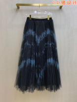 skirt Autumn 2020 S,M,L Black blue Mid length dress grace High waist A-line skirt Decor Type A More than 95% cotton Tie dyeing, mesh