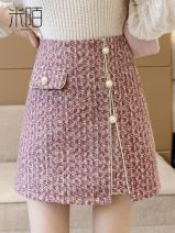 skirt Spring 2021 S,M,L,XL Pink, gray Short skirt commute High waist skirt other 25-29 years old MIMODB1345489 More than 95% Wool Other / other other Pleating, folding, three-dimensional decoration, open line decoration, splicing, 3D Korean version