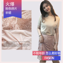 skirt Autumn 2020 S,M,L,XL Pink Middle-skirt Sweet Natural waist A-line skirt Decor Type A 81% (inclusive) - 90% (inclusive) Lace ON CHARMS polyester fiber solar system