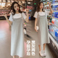 Dress Yuejian Grey two piece set black two piece set M L XL XXL Korean version Short sleeve Medium length summer Crew neck Solid color Pure cotton (95% and above) tuwkx