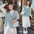 Dress Yuejian Vest - one piece one piece dress for pregnant women M L XL XXL Korean version Long sleeves Medium length autumn Crew neck Solid color Chiffon CkNX9