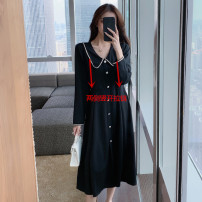 Nursing clothes black M,L,XL,2XL Other / other Socket Spring autumn winter Long sleeves Medium length Dress Side opening