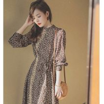 Dress Spring 2021 coffee S,M,L,XL longuette singleton  Long sleeves commute stand collar High waist Broken flowers Socket A-line skirt routine Type A other Korean version printing A house 81% (inclusive) - 90% (inclusive) Chiffon polyester fiber