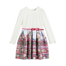 Dress White color matching 0084 female MONNALISA 3A 4A 6A 8A Viscose fiber (viscose fiber) 79% polyurethane elastic fiber (spandex) 3% others 18% other Long sleeves 114936 4635 Summer 2020 Three, four, six, eight