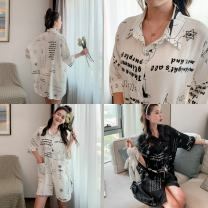 Nightdress Other / other White, black Average size sexy three quarter sleeve Leisure home Short skirt summer letter youth Shirt collar printing 81% (inclusive) - 95% (inclusive) Ice silk CS letter black and white 200g