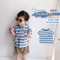 T-shirt Blue and white short sleeves A Xiaoxuan Size 74, size 80, Size 90, size 100, Wu shoot more new products, pay attention to VX: a1xxyt neutral spring and autumn Short sleeve leisure time There are models in the real shooting nothing cotton other other other Chinese Mainland Jiangsu Province
