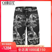 Casual pants ORRDT Youth fashion black S M L XL XXL XXXL XXXXL routine Shorts (up to knee) Other leisure Straight cylinder Micro bomb AT48B1551 summer youth 2021 Straight cylinder Mulberry silk 90% polyurethane elastic fiber (spandex) 10% Sports pants Summer 2021