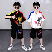 suit Karudi Bird black bird white red stripe triangle color matching black triangle color matching white Hailong black Hailong white elk 110cm 120cm 130cm 140cm 150cm 160cm 170cm male summer leisure time Short sleeve + pants 2 pieces Thin money There are models in the real shooting Socket nothing
