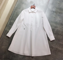 shirt White long sleeves, White Sleeveless S,M,L,XL Summer 2021 cotton 96% and above commute Medium length Polo collar Single row multi button routine other Straight cylinder lady Button, button pure cotton
