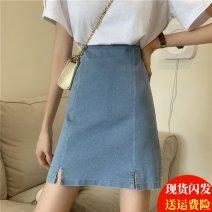 skirt Summer 2021 S,M,L,XL,2XL,3XL,4XL blue Short skirt commute High waist Denim skirt Solid color Type A 91% (inclusive) - 95% (inclusive) Denim other Three dimensional decoration, zipper Korean version