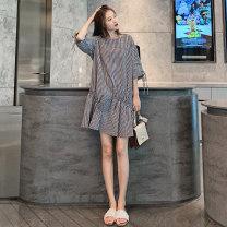 Dress Millimeter bear Black and white check M L XL XXL Korean version Short sleeve routine summer Crew neck lattice Pure cotton (95% and above)