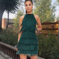 Dress Autumn of 2018 Black, dark green S,M,L,XL Middle-skirt singleton  Sleeveless commute middle-waisted Solid color Socket other Others 18-24 years old Type A Retro Tassels, stitching A134 91% (inclusive) - 95% (inclusive) other