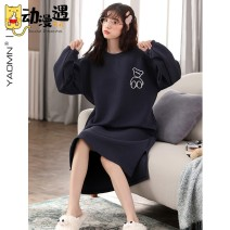 Nightdress Other / other QH3301,QH3305,QH3302,QH3303 M [suitable for height 150-160cm, weight 90-110, l [suitable for height 160-165cm, weight 110-120, XL suitable for height 165-170cm, weight 120-140, XXL suitable for height 170-175cm, weight 140-16 Sweet Long sleeves pajamas Middle-skirt autumn