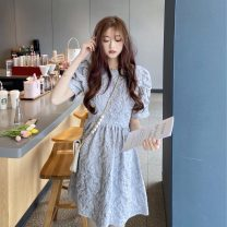 Dress Summer 2021 Grey blue glacier white S M L Short skirt singleton  Long sleeves commute Crew neck High waist Decor Socket puff sleeve Others 18-24 years old Type H Beautiful people in the North Korean version fold GFDDK025 More than 95% other other Other 100%