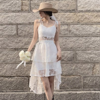 Dress Summer 2021 white S M L Mid length dress singleton  commute Solid color Cake skirt camisole 18-24 years old Beautiful people in the North Korean version HGFS9161 More than 95% other Other 100%