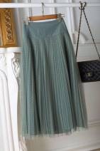 skirt Spring 2021 S,M,L,XL,XS green longuette Versatile High waist Pleated skirt Type A