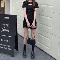 Women's large Summer 2021 Gray, black S,M,L singleton  commute Self cultivation Short sleeve Retro Crew neck 18-24 years old Short skirt