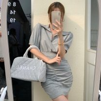 Women's large Summer 2021 Gray, white, black S,M,L singleton  commute Self cultivation Short sleeve Solid color Retro Polo collar 18-24 years old Short skirt