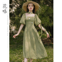 Dress Spring 2021 Avocado Green S M L Mid length dress singleton  Short sleeve commute square neck High waist Solid color Socket A-line skirt puff sleeve Others 18-24 years old Flower strategy Retro Three dimensional lace up decoration HL0095 More than 95% polyester fiber Polyester 100%