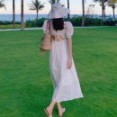 Dress Summer 2020 white S,XL,L,M Mid length dress singleton  Short sleeve Sweet square neck High waist Solid color Socket Big swing puff sleeve Others 18-24 years old Splicing 71% (inclusive) - 80% (inclusive) other polyester fiber