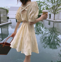 Dress Summer 2020 S M L Short skirt singleton  Short sleeve commute square neck High waist Solid color A-line skirt puff sleeve Others 18-24 years old Korean version bow More than 95% other Other 100%