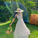 Dress Spring 2021 Pink blue spot XS,S,M,L Mid length dress singleton  Sweet V-neck High waist Decor Big swing Hanging neck style Type X Backless, printed YT20X034 More than 95% Chiffon polyester fiber Countryside