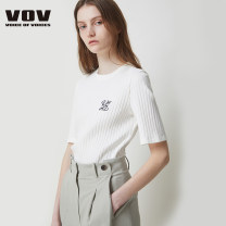 Wool knitwear Spring 2021 55 66 White black Short sleeve singleton  Socket cotton 51% (inclusive) - 70% (inclusive) Regular routine commute Self cultivation routine Solid color 25-29 years old Vov Cotton 66% polyester 28% polyurethane elastic fiber (spandex) 6%