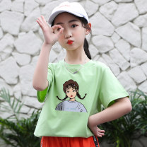 T-shirt Hot Mom cute female summer Short sleeve Crew neck leisure time There are models in the real shooting nothing cotton Cartoon animation Cotton 100% Class B hygroscopic and sweat releasing Summer 2021 Chinese Mainland Jiangxi Province Nanchang City
