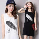 Dress Spring 2021 Feather black, feather white, black 112, white 112 S,M,L,XL,2XL,3XL,4XL,5XL Mid length dress singleton  Sleeveless commute Crew neck Loose waist other Socket other other Others Type H Korean version