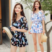 one piece  Other brands M [recommended 80-95 kg], l [recommended 95-110 kg], XL [recommended 110-120 kg], 2XL [recommended 120-140 kg], 3XL [recommended 140-155 kg], 4XL [recommended 155-175 kg] Skirt one piece With chest pad without steel support polyester fiber 59F9E207 female Short sleeve