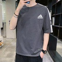 T-shirt Youth fashion Black, white, gray, pink, haze blue, white + haze blue, white + gray, white + pink, white + black, black + gray, pink + haze blue, haze blue + gray thin M,L,XL,2XL,3XL,4XL Clover Short sleeve Crew neck easy Other leisure summer teenagers routine tide other 2021 Alphanumeric