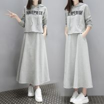 Women's large Spring 2020 Grey [two piece set], black [two piece set] Large L, large XL, large XXL, s, M Two piece set commute easy moderate Socket Long sleeves letter Korean version Hood routine printing and dyeing routine 952BD206 25-29 years old pocket longuette