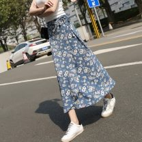 skirt Summer 2020 longuette Versatile High waist Irregular Decor Type A 25-29 years old ┭┮﹏┭┮ More than 95% Chiffon Other / other other Bow, ruffle, lace, asymmetric, strap, stitching, printing One size fits all