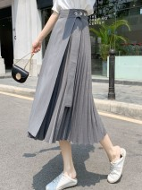 skirt Summer 2021 Medium length skirt Natural waist Splicing style Versatile 71% (inclusive) - 80% (inclusive) Lace up, stitching Solid color other 18-24 years old 201g / m ^ 2 (including) - 250G / m ^ 2 (including) Type A 605250 other S,M,L